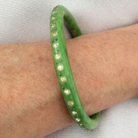 1920's Bangle - Green Celluloid set with Diamanté French Art Deco